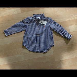 New Polo Ralph Lauren Blue Striped Shirt 24M